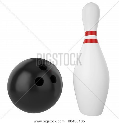 Pin and bowling ball isolated on white background.