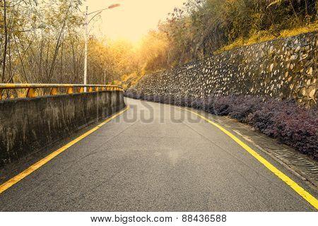 Empty road with slight