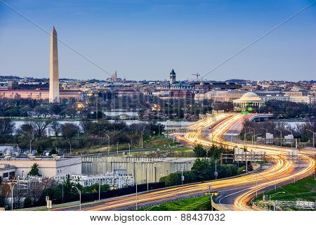 Washington, D.C. cityscape with Washington Monument and Jefferson Memorial.