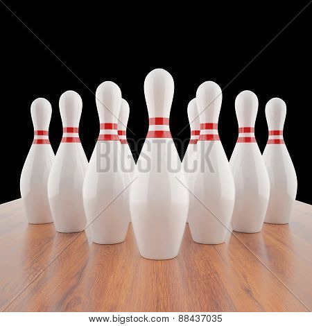 Illustration of bowling pins on a wooden floor.