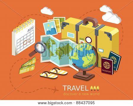 Travel Essentials Flat 3D Isometric Infographic