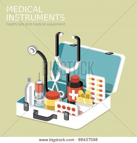 Flat 3D Isometric Infographic For Medical Instruments
