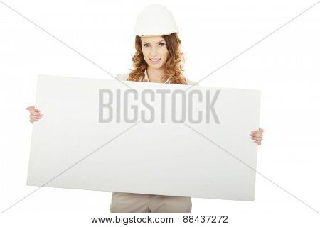 Architect business woman with empty banner.