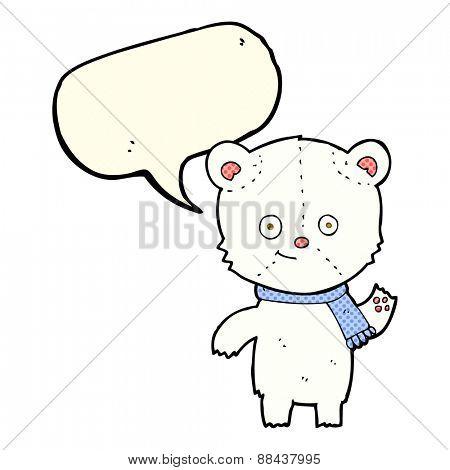cartoon polar bear waving with speech bubble