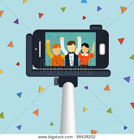 Trendy Selfie Concept 3D Isometric Infographic