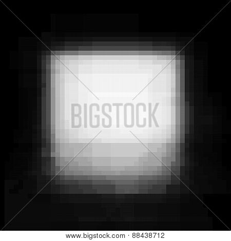 Vignette Pixel Grunge Vector White Stain On Black