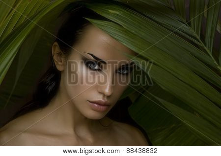 Sexy Beautiful Woman Hiding Behind The Palm Leaves. Beautiful Stylish Woman With Smokey Eyes