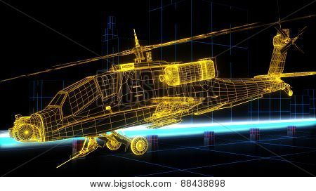 futuristic wire frame render of Apache helicopter