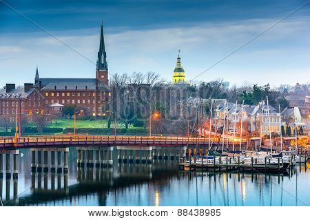 Annapolis, Maryland, USA State House and St. Mary's Church viewed over Annapolis Harbor and Compromise Bridge.