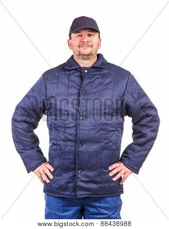 Worker in winter workwear.