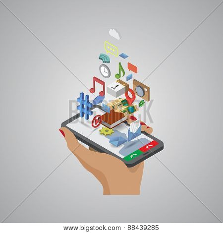 Mobile phone applications navigation communication isometric
