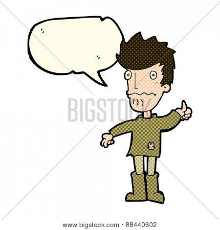 cartoon worried man giving thumbs up symbol with speech bubble