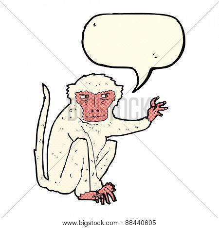 cartoon evil monkey with speech bubble