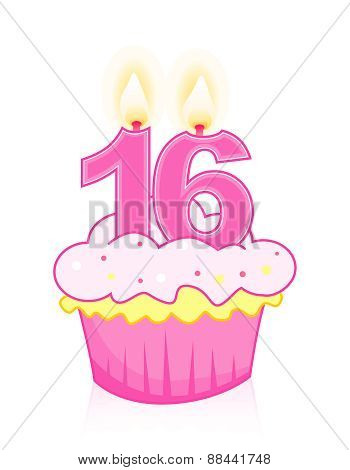 Sweet Sixteen Birthday Cupcake