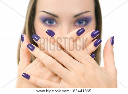 Beautiful Women Eyes With Stylish Make-up And Hands With Purple Manicure. Makeup, Beauty.