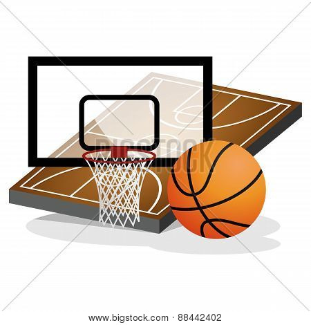 Basket Ball Field and Ball Vector Illustration