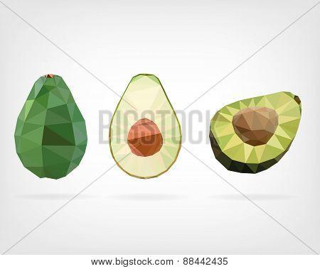 Low Poly Avocado Fruit