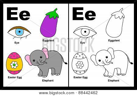 Kids Coloring Book Page Letter E