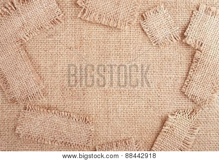 Sackcloth Background With Random Patches