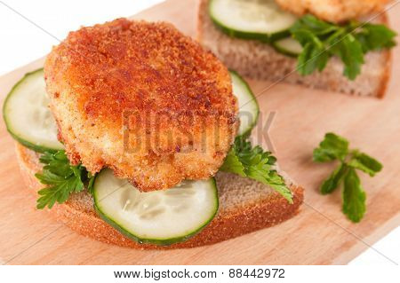 Sandwiches With Yummy Cutlet, Bread, Cucumber And Parsley
