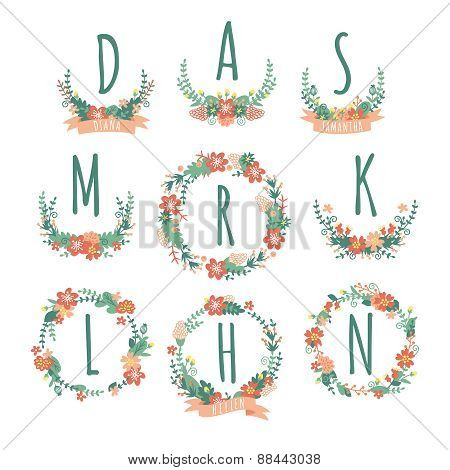 Colorful Spring monogram set.