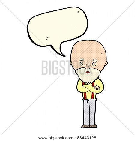 cartoon worried old man with speech bubble