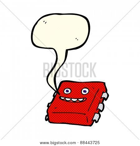 cartoon computer chip with speech bubble