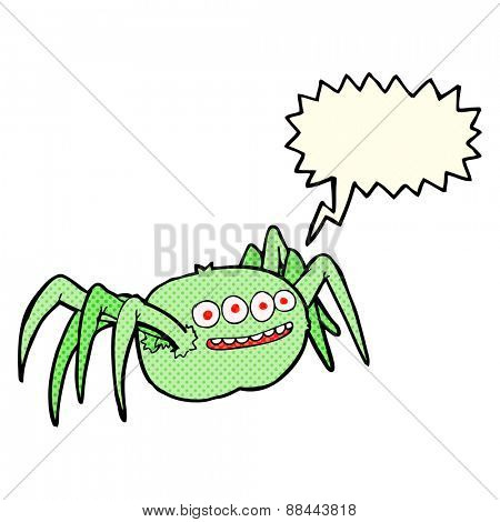 cartoon spooky spider with speech bubble