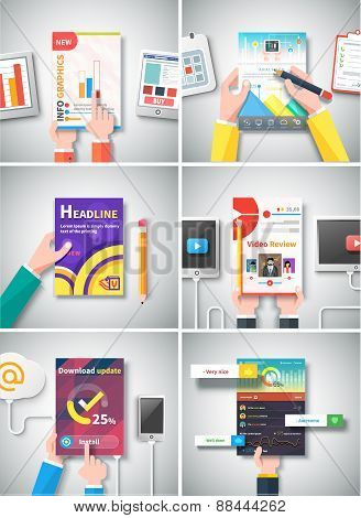 Infographic Business Brochures Banners Set