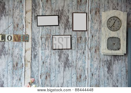 Empty Frame On The Background Of The Old Wooden Walls.