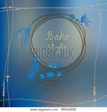 Boho Style Frame Background. Vector Illustration