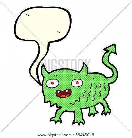 cartoon little demon with speech bubble