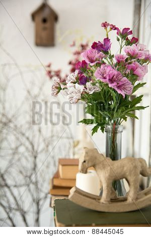 Designer Composition With Artificial Flowers.