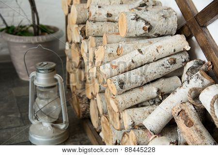 Background Of Birch Firewood At Home.