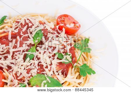 Spaghetti with tomato basil and cheese.
