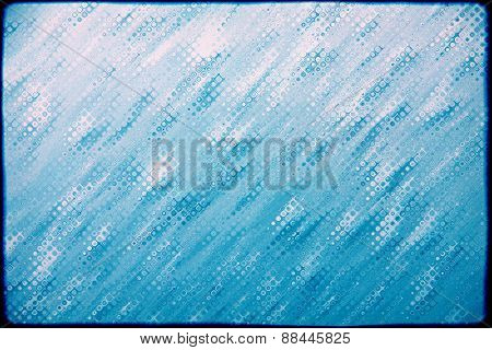 Blue Drips Grunge Texture Pattern As Abstract Background.