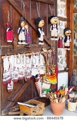 bulgarian souvenirs on the wooden door