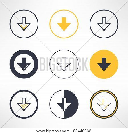 Download icons set in different design. Clean and simple down arrow signs. Vector illustration