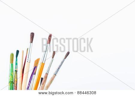 isolated paints brushes on white background