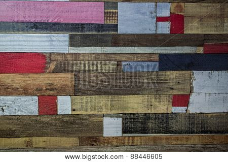 Old Wooden Surface Painted In Different Colors