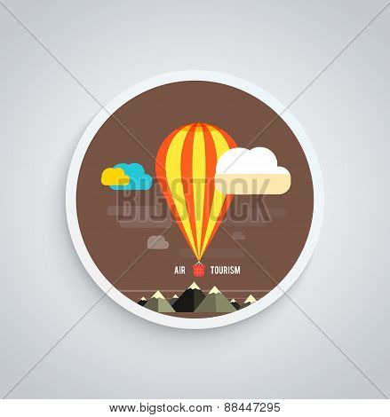 Hot Air Balloon Flying Over Mountain Round Banner