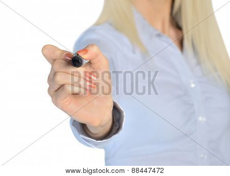 Isolated business woman write something