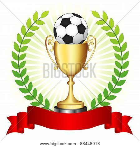 Soccer Trophy On Glowing Background