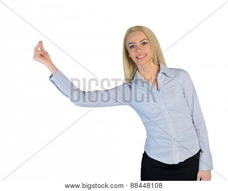 Isolated business woman hold something small