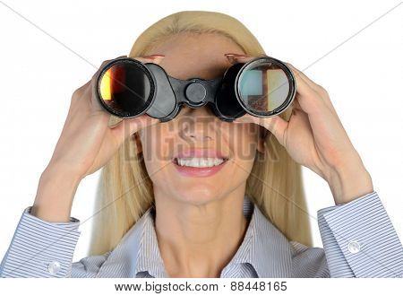 Isolated business woman with binoculars