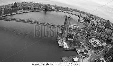 Aerial View Of Brooklyn Bridge And Manhattan Bridge