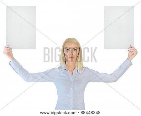 Isolated business woman showing two empty papers