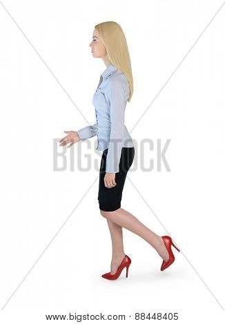 Isolated business woman walk side