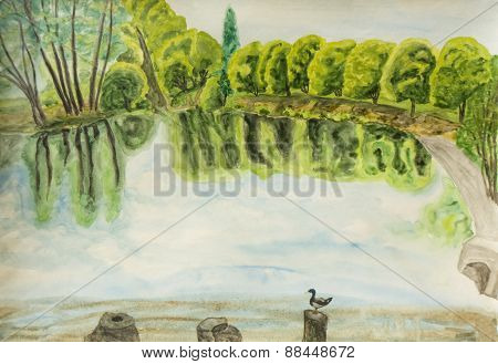 Lake In Park, Painting