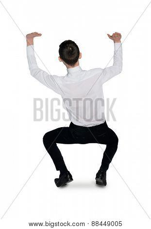 Isolated business man push something up
